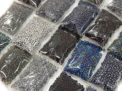 Roccailles Rocailles Schwarz Perlen Set Mix 2mm