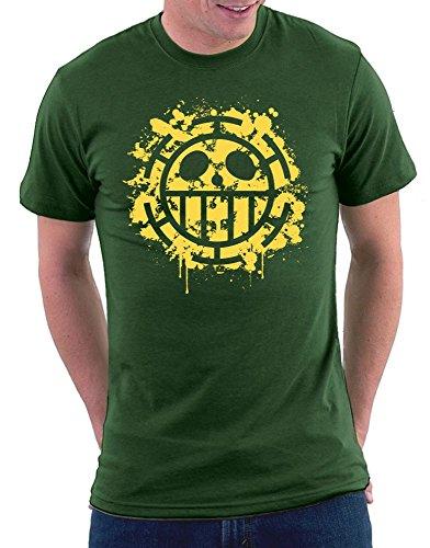 Heart Pirates Splattered T-shirt Bottlegreen
