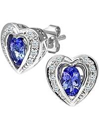 Naava Women's 9 ct White Gold Tanzanite and Diamond Heart Earrings