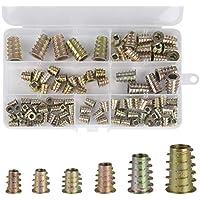Hotgod M4 M5 M6 M8 M10 M10 Mueble de aleación de zinc Hex Socket tornillo insertos rosca insertar tuercas surtido Kit de herramientas para muebles de madera, 100 piezas