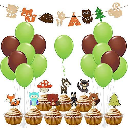 Woodland Creatures Baby Shower - Cupcake Toppers Tierballons Banner für Kindergarten Wald Themen Geburtstag Dekorationen