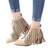 OSYARD Damen Quaste Ankle Stiefeletten V-Öffnung Fransen Wildleder Low-Top Boots Frauen Schuhe Mode Ankle Solid Fringe Quaste Bootie Kurze Stiefel (255/42, Khaki)