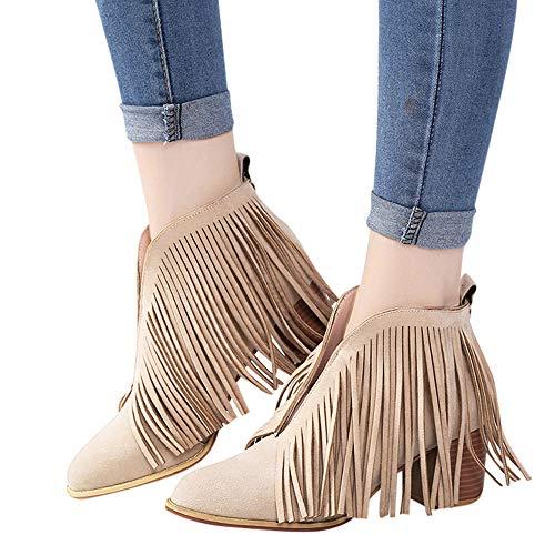 OSYARD Damen Quaste Ankle Stiefeletten V-Öffnung Fransen Wildleder Low-Top Boots Frauen Schuhe Mode Ankle Solid Fringe Quaste Bootie Kurze Stiefel (245/40, Khaki) -