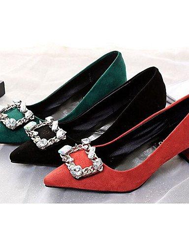 WSS 2016 Chaussures Femme-Décontracté-Noir / Vert / Rouge-Gros Talon-Talons-Talons-Laine synthétique red-us6 / eu36 / uk4 / cn36