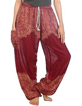 Lofbaz Mujeres Harén Pantalones Arabes de cintura de cordón Boho Yoga