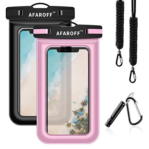 AFAROFF wasserdichte Handyhülle, 2 Stücke. IPX8 Zertifiziert, wasserdicht und staubdicht. Passt für EIN iPhone, Samsung Galaxy, Huawei und alle Anderen bis zu 6 Zoll(Schwarz +Pink)