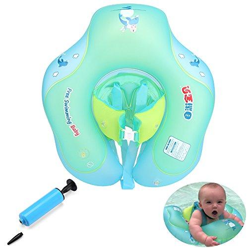 GEYUEYA Home Kleinkind Kinder Schwimmender Schwimmen Ring mit Pumpe Aufblasbarer Baby Schwimmring Schwimmhilfe Schwimmsitz für 6-30 Monate altes Baby blau Ausbildung