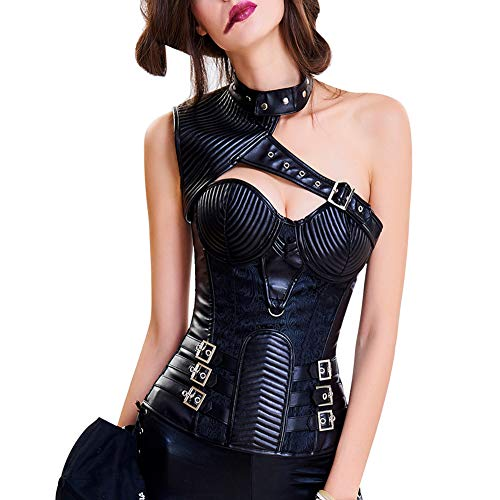 FeelinGirl Damen Korsett mit Stahlstäbchen - Brokatmuster - Retro/Gothic/Steampunk-Stahl ohne Knochen, Schwarz 40071, XL(EU 40)