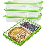 Plastik Küche Vorratsbehälter Set mit deckel aufbewahrungsdosen bpa frei frischhaltedosen stapelbar frischhaltebox auslaufsicher bento lunchbox kinder mit 2-fächern, 100% luftdicht, Geeignet für Mikrowelle, Gefrierschrank und Spülmaschine (3-teiliges, 2.04L, Rechteckig, Grün)