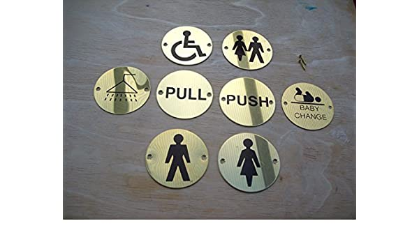 3 Shower Circular Toilet WC Door Sign Symbol Aluminium Or Steel Finish 75mm