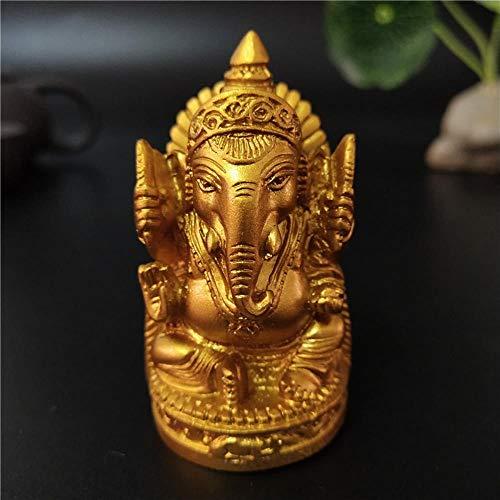 YIIVAN Ganesha de ORO Estatua de Buda Elefante Dios Escultura Ganesh Figuritas para jardín Estatuas de decoración del hogar