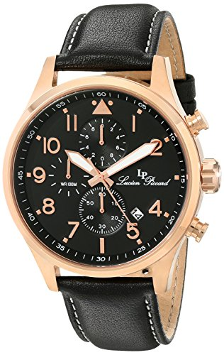 Lucien Piccard Men's Peak 45mm Chronograph Black Genuine Leather Band Steel Case Quartz Watch 13346-RG-01