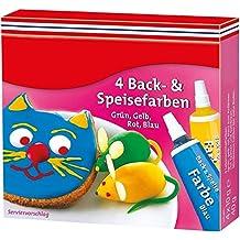 Lebensmittelfarbe, 4er-Pack rot, gelb, blau, grün