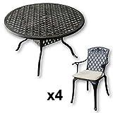 Lazy Susan - SARAH 120 cm Runder Gartentisch mit 4 Stühlen - Gartenmöbel Set aus Metall, Antik Bronze (ROSE Stühle, Beige Kissen)