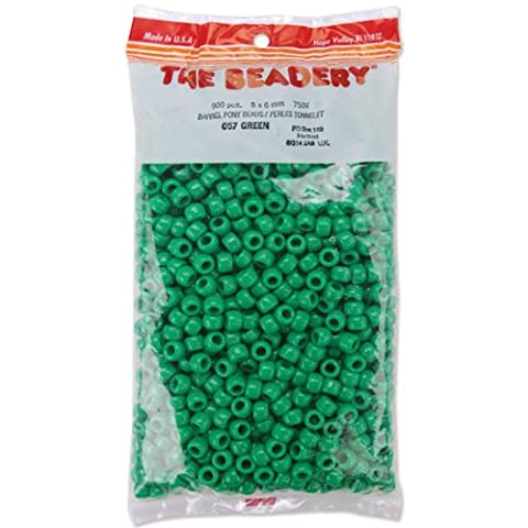 The Beadery 6 by 9mm Barrel Pony Bead, Green, 900-Pieces