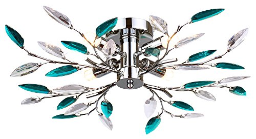 modern-semi-flush-chrome-ceiling-light-with-clear-and-teal-acrylic-leaves-by-haysom-interiors