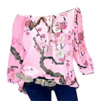 CRYYU Womens Floral Printing Slim Fit Off Shoulder Double-deck Plus Size Chiffon Blouse Shirt Top Pink 5XL