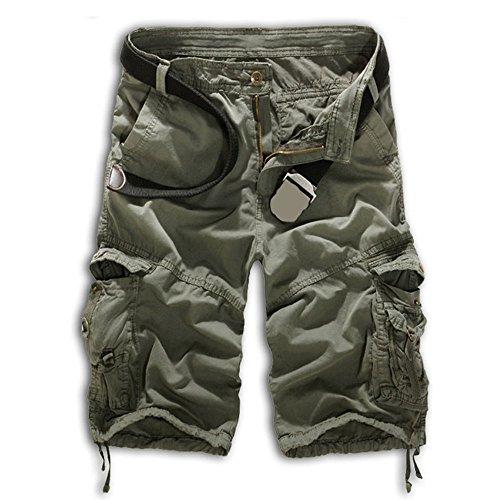 Herren Cargo Shorts Bermuda Hose Urban Vintage Legend Kurze 3/4 Sommer Airborne Knielänge Outdoor 36 Grau