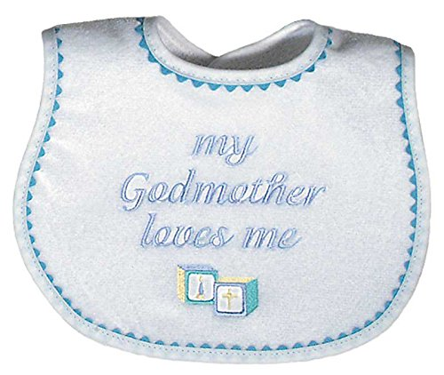 Raindrops My Godmother Loves Me Embroidered Bib, Blue by Raindrops