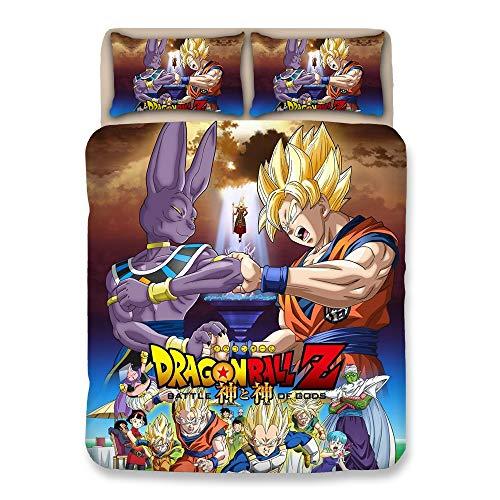 BULK Bettwäsche Dragonball Z Goku 3-teilig Bettdecke Bettwäsche Set: Bettbezug und Zwei Kissenbezüge Kein Tröster (Voll),Full -