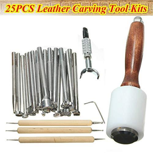 Fcostume 25 Stücke Leather Carving Arbeitssattel, Der Werkzeuge Set DIY Hammer Swivel Tool (Silber)