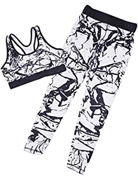 Ropa Deportiva pare Mujer - hibote 2 pcs Camuflaje Chándal Ropa Deportivo Bra + Fitness Leggings Blanco / Negro