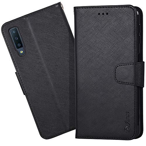 Arae Samsung Galaxy A7 2018 Hülle, Handyhülle Samsung Galaxy A7 2018 Tasche Leder Flip Cover Brieftasche Etui Schutzhülle für Samsung Galaxy A7 2018 - Schwarz