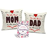 [Sponsored]Tied Ribbons Gift For Father And Mother Set Of 2 Printed Cushion (12 Inch X 12 Inch,Multicolor) With Inner Filler And Greeting Card