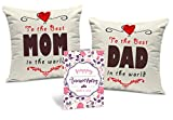 Tied Ribbons Gift For Father And Mother Set Of 2 Printed Cushion (12 Inch X 12 Inch,Multicolor) With Inner Filler And Greeting Card