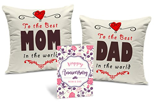 """TIED RIBBONS for Mom Dad Set of 2 Printed Cushion (12"""" x 12"""") with Inner Fillers and Greeting Card"""