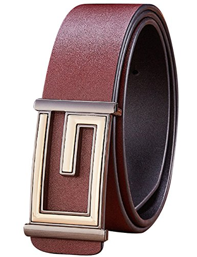 CUKKE Uomo cintura di pelle Fibbia Liscia Pelle Liscia Cintura Regolabile 38mm marrone