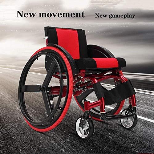 FKYUYU Leichter Manueller Rollstuhl Sport- Und Freizeitrollstühle Ergonomisch Ohne Armlehnen Einfach Zu Bewegen Schnelles Lösen des Hinterrads Für Einfaches Tragen