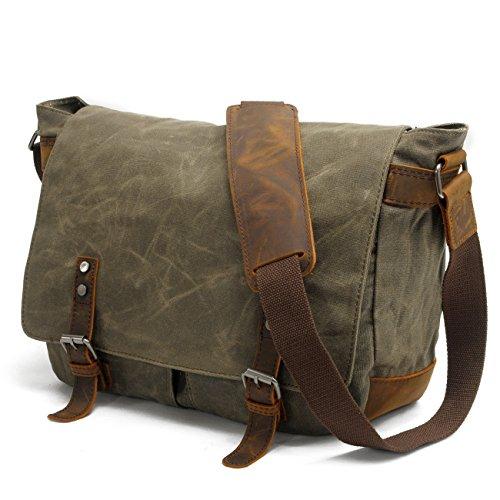 Y-DOUBLE Wasserdicht Vintage Canvas Leder Messenger Bag Umhängetasche Aktentasche Schultertasche 14 Zoll Laptoptasche Notebooktasche aus Canvas und Leder (Aktentasche Green Laptop-tasche)