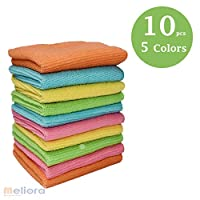Microfiber Multi Purposes Towels Cloths Car,Kitchen,Bathroom Super Absorbent Kitchen Cleaning Cloths, Perfect Car Wash Cloth Towels. 1-Pack 5 Colors 10 Pieces 40x40 cm, assorted Colors