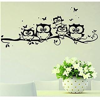 zaru Cartoon De hiboux de papillon autocollant de mur de décor de 891image