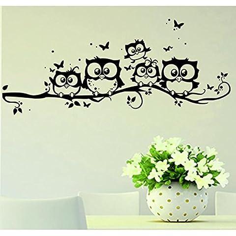 POTOBrandd, niños vinilo arte dibujos animados búho mariposa pared pegatina decoración casera de la etiqueta