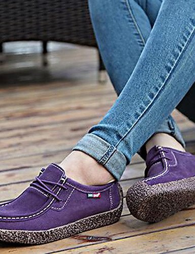 ZQ 2016 Scarpe Donna - Ballerine - Ufficio e lavoro / Casual / Serata e festa - Comoda / Ballerina - Piatto - Scamosciato -Nero / Giallo / Viola , purple-us8.5 / eu39 / uk6.5 / cn40 , purple-us8.5 / e purple-us6 / eu36 / uk4 / cn36