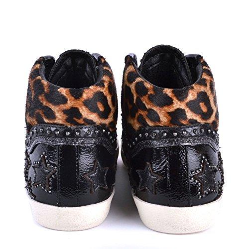 Femme Chaussures Sneaker Leopard Musik Bis Argent Ash Noir HXagqww
