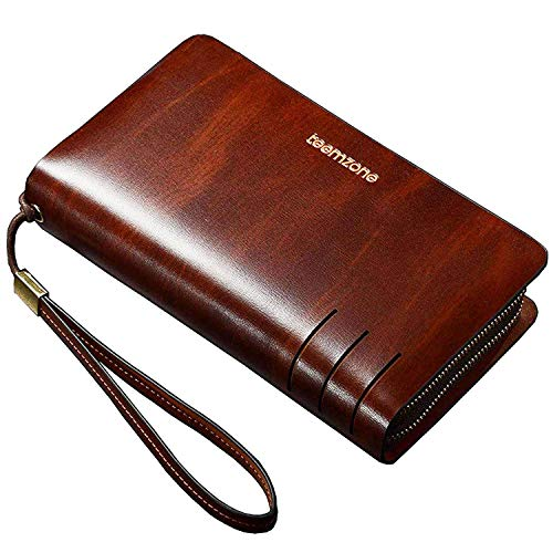 Portemonnaie Männer RFID Schutz Herrentasche Leder 22×13,5×4cm Geldbörse Herren Unterarmtasche Handgelenktasche Groß Multi-Tasche mit Trageschlaufe TEEMZONE (Braun 12 Kartenfächer RFID)