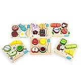 ZMH 6 UNIDS Cocina de Juguete de Madera Cortar Frutas Hortalizas Postre Niños Cocina Cocina Juguete Comida Pretender Jugar Puzzle Juguetes Educativos para niños