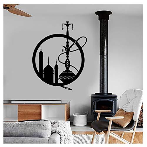 jqpwan Wandaufkleber Wandaufkleber Vinyl Eastern City Shisha Fensteraufkleber Shisha Rauchen Unkraut Aufkleber Wandbild Art Home Schlafzimmer Dekor 72 * 57 cm (Unkraut-shisha)