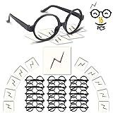 Wuree Zauberer-Brille mit rundem Rahmen Keine Linsen und Lightning Bolt Tattoos für Kinder Harry Potter, Halloween, St Patrick Tag Kostüm Party, 16 Pack von jedem, schwarz