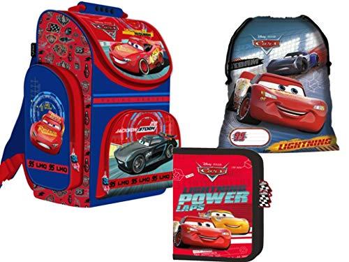 Cars Ranzen Schulrucksack Schulranzen, Federtasche Federmappe, Schuhbeutel Turnbeutel 3 teiliges Set Schulset rot. blau für Junge