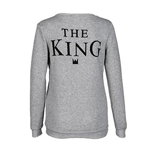 Yistu camiseta parejas The King & Queen tops de manga larga camiseta (M, Gris- King)