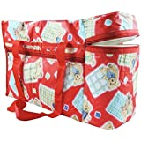 Chhote Saheb Multi Purpose Baby Diaper Mother Bag With 2 Bottle Holders - Keep Baby Bottles Warm - Assorted Prints (Red)