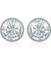 Mahi Rhodium Plated White Bolt Earrings Made With Swarovski Crystal For Women ER1104084RWhi