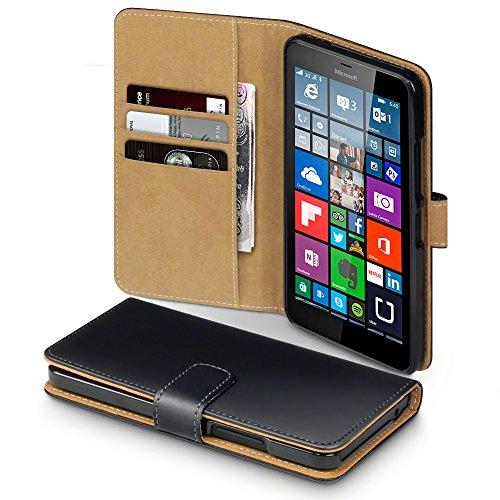 Microsoft Lumia 640 XL Case, Terrapin Handy Leder Brieftasche Case Hülle mit Kartenfächer für Microsoft Lumia 640 XL Hülle Schwarz mit Hellbraun Interior