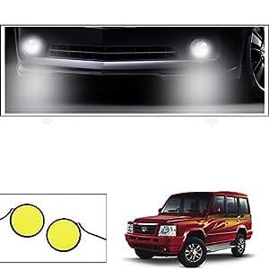 Vheelocityin COB 2pc Car DRL Fog Lamp LED Light Stick-On For Tata Sumo Gold