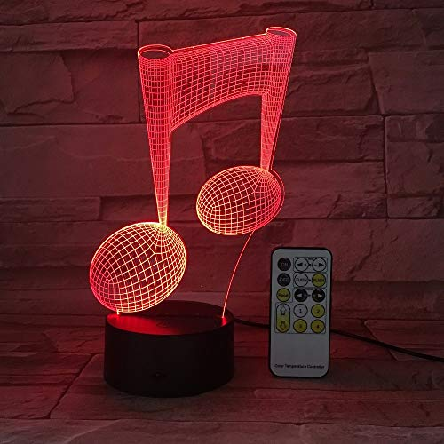 3D Nachtlicht, Nachtlampe, Nachtnacht, Schreibtisch Tischbeleuchtung, Musiknote Remote Touch Light 3D LED Nachtlicht USB Tisch Schreibtischlampe NachtlichtGeschenkMusik Love Guys Halloween Geschenk