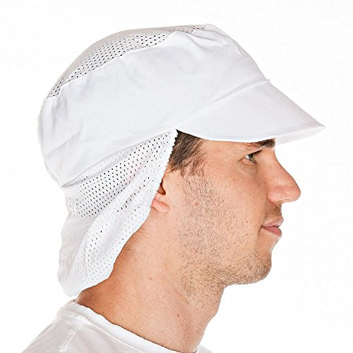 Schildmütze mit Haarschutz, Gummizug und Netzteil Weiß - Industriewäsche geeignet - 2